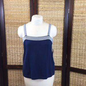Navy sweater with striped detail and straps XL